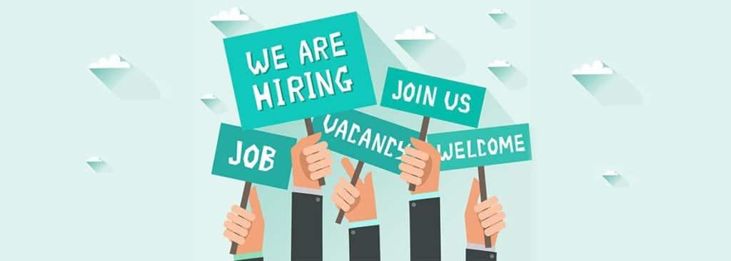 banner saying we are hiring