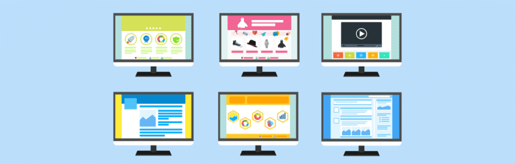 six screens showing website designs