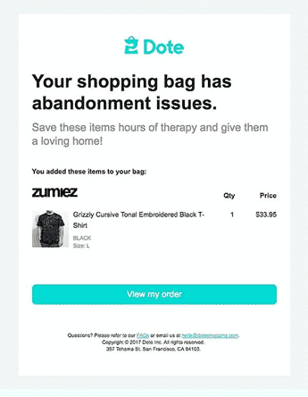 Dote abandoned cart email