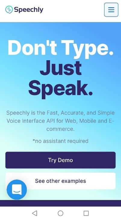 Speechly homepage on a mobile phone